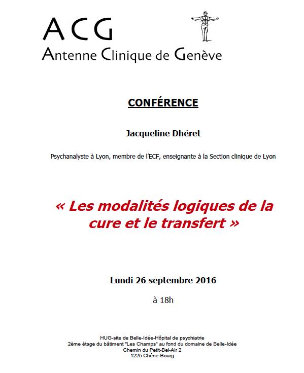 Conférence J. Dhéret: Les modalités de la cure et le transfert
