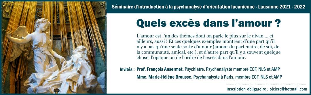 Séminaire d'introduction à la psychanalyse d'orientation lacanienne 2021 – 2022
